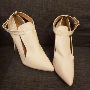Beige 5 inch Heels w/ Ankle Strap & Pointed Toe